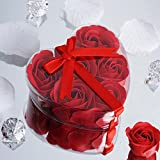 BalsaCircle 100 Red Cute Favor Heart Gift Boxes with 6 Rose Petal Soaps for Wedding Party Birthday Gifts Decorations Supplies