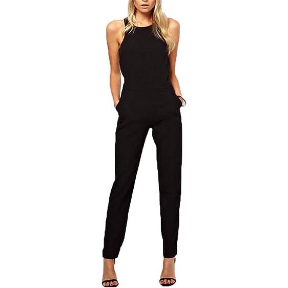Edgar Dur 2016 Summer Elegant WomenS Rompers Jumpsuit Casual Solid Bodysuit Sleeveless Crew Neck Long Playsuits