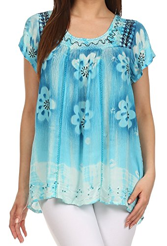 Sakkas 43614 - Short sleeve tie dye gingham peasant top with sequin embroidery - Light Blue - OS