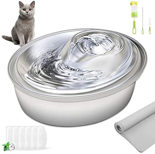 ORSDA Cat Water Fountain Stainless Steel, Pet Fountain Dog Water Dispenser, 67oz / 2L Ultra-Quiet Automatic Cat Drinking Fountains with 6 Replacement Filters & 1 Silicone Mat for Cats, Small Dogs