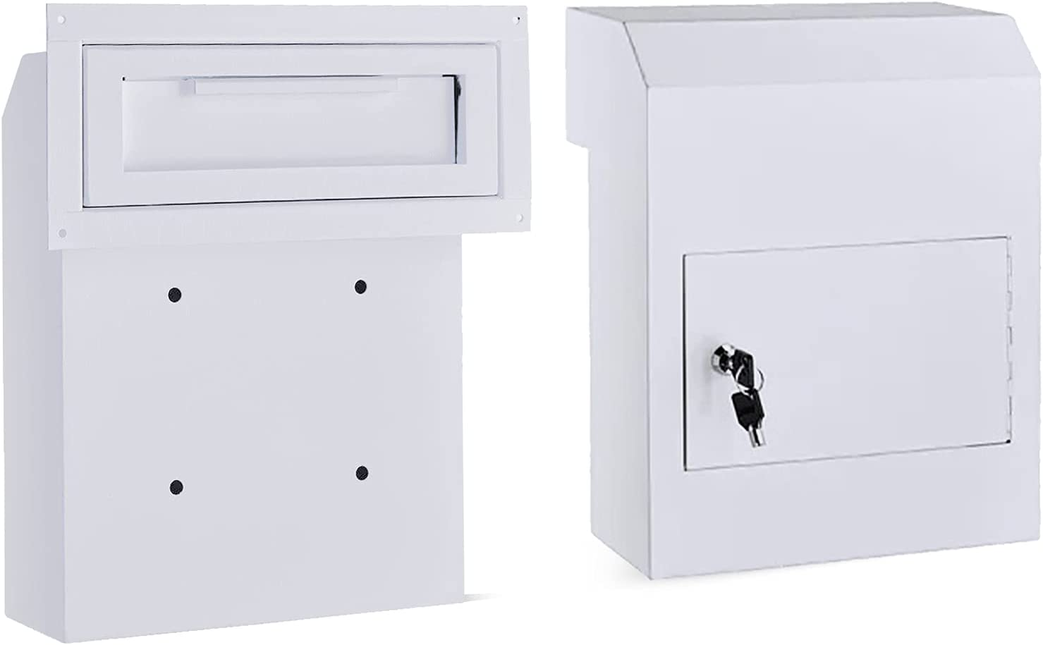 Drop Box Mail Slots for Doors Key Drop Box Drop Boxes with Lock for Business with Rustproof Mailbox Anti Theft Lock Easy to Put Documents in Safe Dropbox for Cash Money Home Office Garage Color Grey