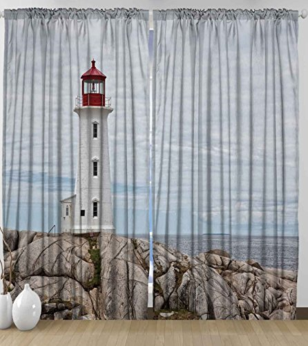 Sea Life Decor Lighthouse On Rocks And Blue Sky Historical Marine Maritime Canada Ocean Red Tower Aged Landmark For Bedroom Living Room Curtain 2 Panels Set  108X84 Inches Wide Long Gray White Beige