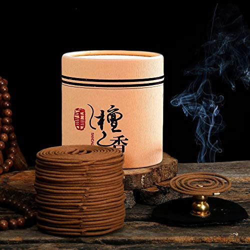 - Hansense 48pcs/Box Natural Sandalwood Coils Incense Coils Incense with a Mini Holder Burner - Aroma 4 Hours