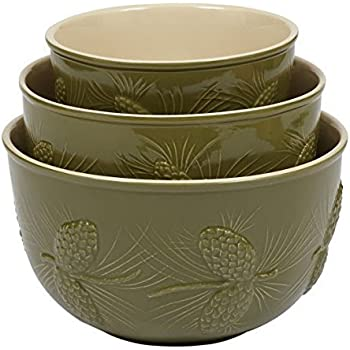 pinecone ceramic mixing bowls set of 3 kitchen dining. Black Bedroom Furniture Sets. Home Design Ideas