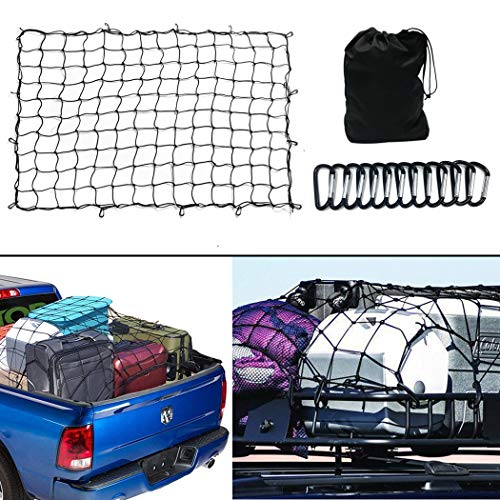 FLAPRV 3'x4' Super Duty Cargo Net Stretches to 6'x8' for Oversized Rooftop Cargo Rack & Small Trucks,12 Tangle-Free 3