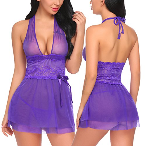 ADOME Women Lace Babydoll Mesh Lingerie Halter Sleepwear Mini Outfits Teddy, Style 2-purple, Large Halter Style Teddy
