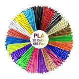 Canbor 3D Pen Filament Refills 3D Printing Pen Filament 1.75mm PLA Filament Pack for 3D Pen Printer with 20 Colors 32.8 Feet per Color Total 656 Feet