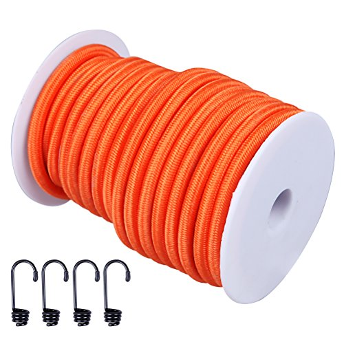 Hook Orange (CARTMAN 1/4 Elastic Cord Crafting Stretch String with Various Colors, 40kg x 50ft, with 4 More Hooks, Orange Color)