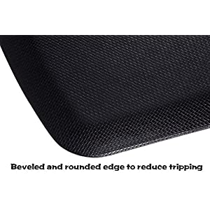 """The Original 7/8"""" Amcomfy Anti Fatigue Comfort Mat 22x36 In for Kitchens Office Standing Desks and Garages, Black"""