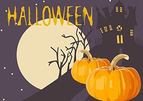 Quality Prints - Laminated 34x24 Vibrant Durable Photo Poster - Halloween Night Scary Pumpkin Moon Castle Dark Holiday Horror Autumn October Halloween Background Celebration Orange -