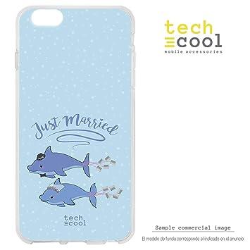 0fffd65560f Funnytech® Funda Silicona para LG K4 2017 [Gel Silicona Flexible, Diseño  Exclusivo ] Pareja Delfines Fondo Azul: Amazon.es: Electrónica