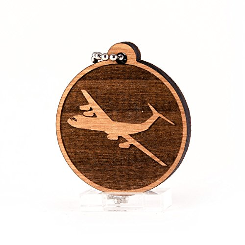 Sunset Design Lab Flying C-141 for USAF Air Force Military Planes Jets NASA Wood Laser Cut Keychain Charm ()