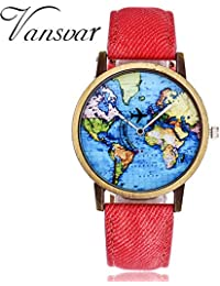 Womens Watches Clearance Sale,Hengshikeji Analog Quartz Wrist Watches New Global Travel by Plane Map