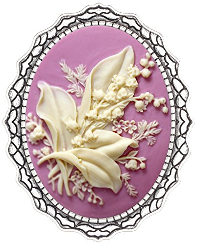 Cameo Shield Brooch Pin Seabird Decor Antique Lace Fashion Jewelry for Gift (Beautiful Flower)