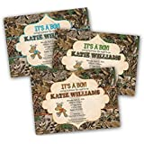 Camouflage Buck Baby Shower Invitation For Boy Camo Green Orange Blue