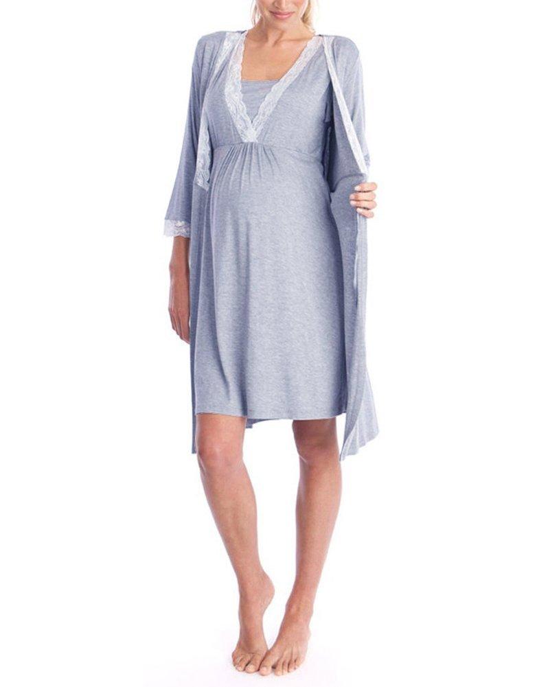 YOUBENGA Women's 3/4 Sleeve Lace Nursing Robes Maternity Sleepwear Gown Loungewear Light Gray M