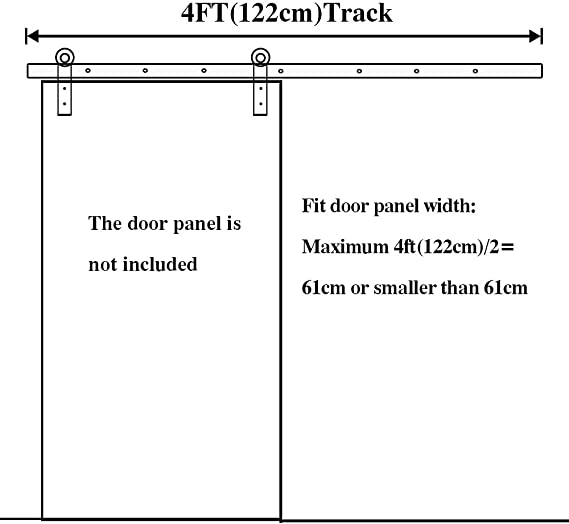 LWZH 4FT//122cm Kit de Quincaillerie pour Porte de Grange Coulissante Rail de Porte de Placard Int/érieur Coulissant I-Forme