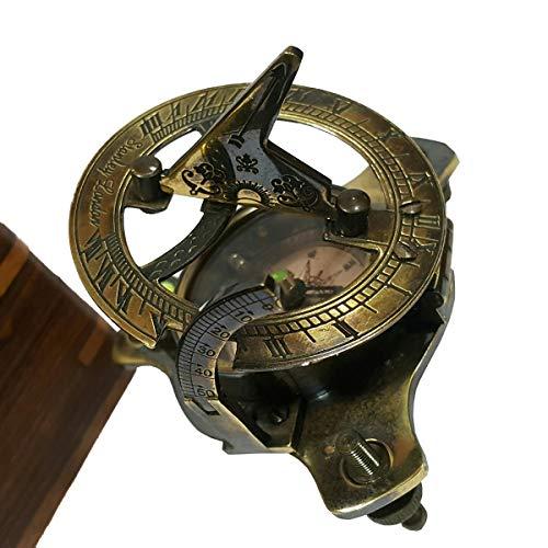 Antiques Straightforward Maritime Compass Sundial Navigation Camping Vintage Clocks