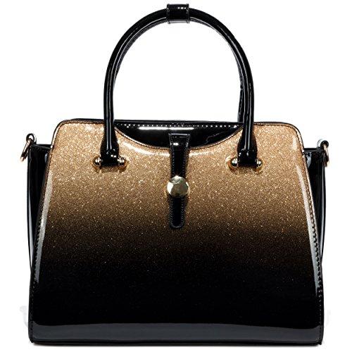 Satchel Gold Handbags Womens Leather Patent wqtRRIW1E
