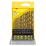 XLCMSY Cobalt Drill Bit Set, M35 HSS Metric Straight Shank Twist Drill Heat Resistant Metal Drill Bits for Hard Metal, Stainless Steel, Hardened Steel, Cast Iron and Wood, 1.5-6.5mm (13 Pcs) (Color: Brown Gold, Tamaño: 13-Piece)