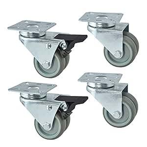 4pieza ruedas ruedas dobles playa cesta ruedas ruedas para muebles (con freno hasta 150kg/Juego (2unidades de lenkl ruedas con freno, 2unidades sin freno)