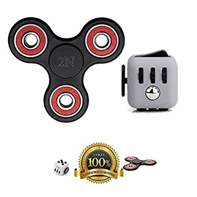 2NLIST Fidget Spinner and Fidget Cube: Stress Reducer Perfect For ADD, ADHD, Anxiety & Autism Adult Children