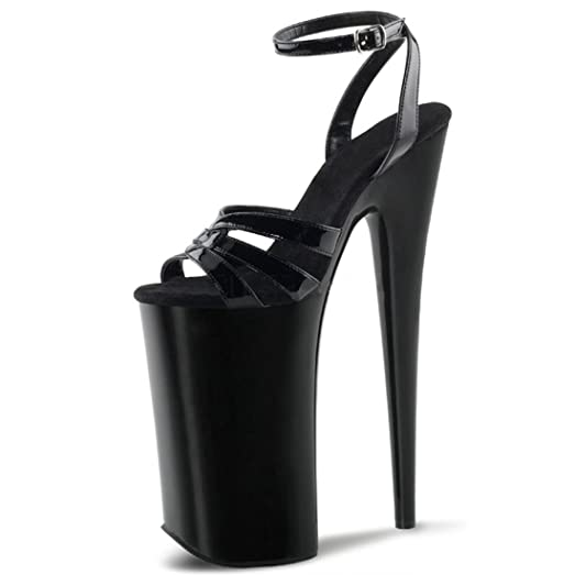 Amazon.com | Shiny Black Extreme Platform High Heels with 10 Inch ...