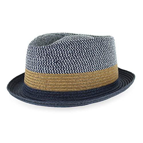 Belfry Men/Women Summer Straw Pork Pie Trilby Fedora Hat in Blue, Tan, Black (Large, - Straw Pork