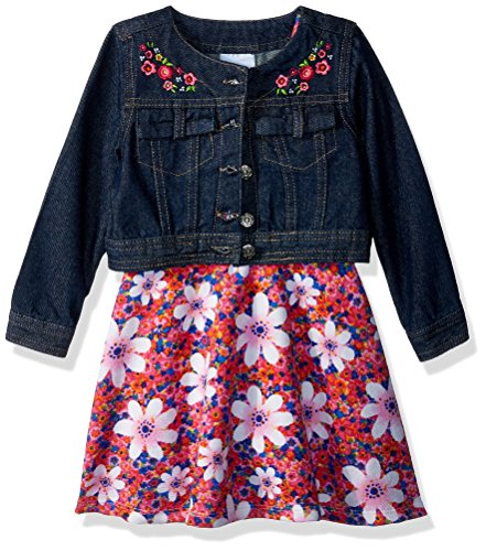 Dress Set Pink Denim - Nannette Toddler Girls' 2 Piece Denim Jacket Dress Outfit Set, Pink, 4T