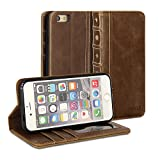 iPhone 6 Case, GMYLE Book Case Vintage for iPhone 6 (4.7 inch) - Brown Classic [Crazy Horse Pattern] [PU Leather] Book style Flip Slim Fit Case Cover