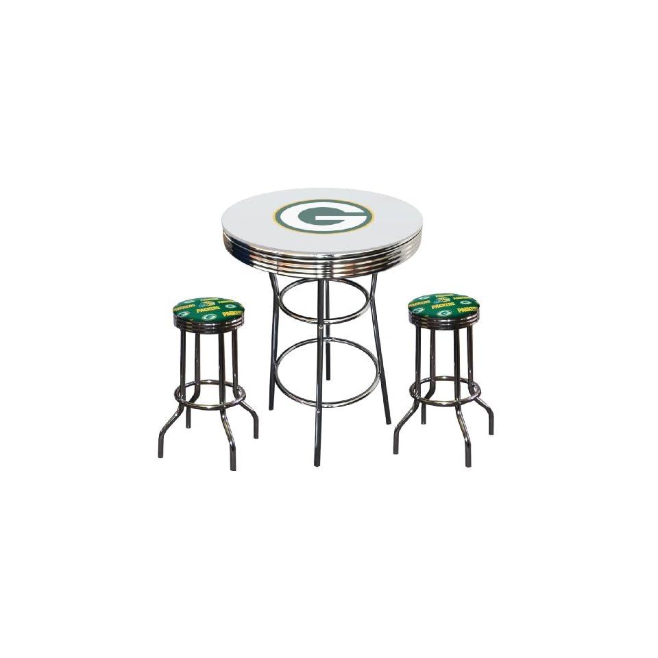 Green Bay Packers Logo NFL Football Glass Top Chrome Metal White Bar Pub Table Set with 2 Swivel Bar Stools   Home Bars