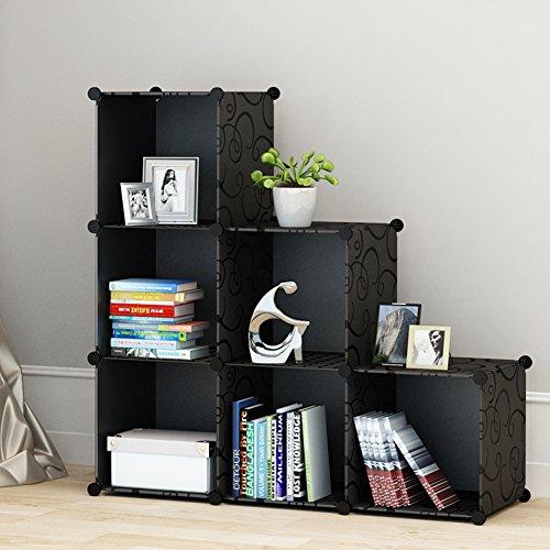 KOUSI 3-tier Storage Cube Closet Organizer Shelf 6-Cube Cabinet Bookcase without doors Black