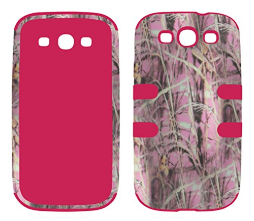Samsung Galaxy S3 Camo - Hybrid 3 in 1 Pink Camo Hay Samsung Galaxy S3 / S 3 / III i9300 High Impact Shock Defender Plastic Outside with Soft Silicon Inside Drop Defender Snap-on Cover Case