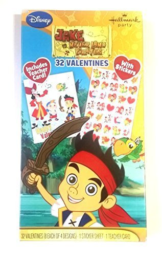 Disney Jake the Neverland Pirates Valentines Exchange Cards 32 with Stickers plus Teacher's Card (Jake And The Neverland Pirate Characters)