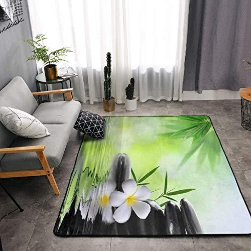 YOUNG H0ME Bedroom Living Room Kitchen King Size Area Rug Home Decor - Asian Zen Garden Stone Orchid Bamboo Zen Floor Mat Doormats Quick Dry Bath Mat Yoga Mat Throw Rugs Runner (63 x 48 Inch)