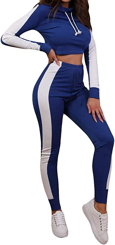 MEIbax 2 Unids Mujer Chándal Sudadera Pantalones Conjuntos Deporte ...