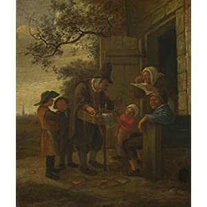 The Museum Outlet - Jan Steen - A Pedlar selling Spectacles outside a Cottage - Canvas Print Online Buy (40 X 50 Inch)