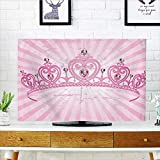 Jiahonghome TV dust Cover Theme Pink Heart Shaped Princess Crown on Radial Backdrop Girls Room Pink Light TV dust Cover W19 x H30 INCH/TV 32''