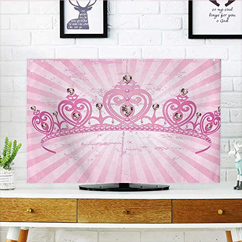 Jiahonghome TV dust Cover Theme Pink Heart Shaped Princess Crown on Radial Backdrop Girls Room Pink Light TV dust Cover W19 x H30 INCH/TV 32'' by Jiahonghome