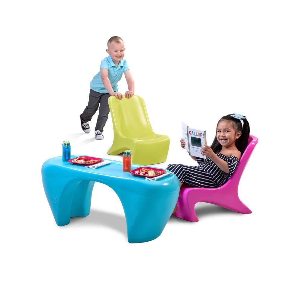 Step2 Junior Chic 3piece Furniture Set Kids Plastic Play Table Chair Set Colorful Sleek Modern Design Toys Games Dprd Tasikmalayakab Go Id