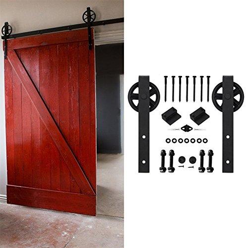 KIRIN Interior Decor 6 FT Barn Door Sliding Hardware Kit Accessories For Single Wood Door (Big wheel shape) by kirin