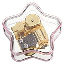 YouTang(TM) Star-shaped Creative Transparent Acrylic 18-note Wind-up Musical Box,Musical Toys,Tune:Frozen Let it Go,Pink