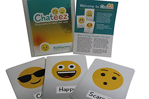 - Original Chateez Cards – 25x Full-Size Pack of Emoji Expression Flash Cards - make chat easy for children. Simple Emotion Facial Expression Picture Cards Teach Young People Feelings Emotions Moods