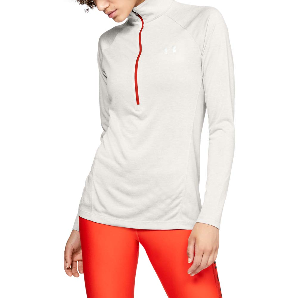Under Armour womens Tech Twist ½ Zip Long Sleeve Pullover, Ghost Gray (592)/Metallic Silver, Large by Under Armour