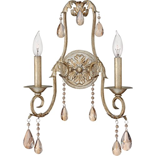 Hinkley 4772SL, Carlton Candle Crystal Wall Sconce Lighting, 2 Light, 120 Total Watts, Silver Leaf
