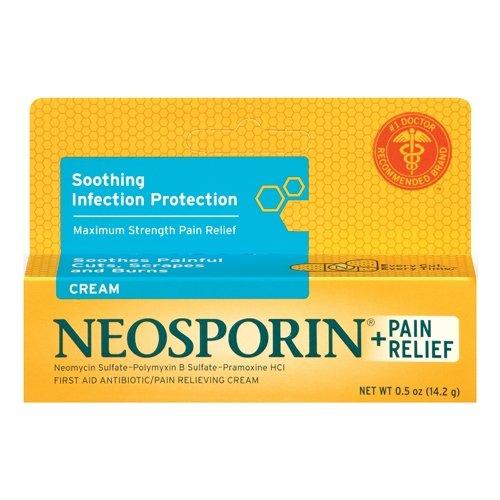 Neosporin Plus Pain Relief Cream, Maximum Strength, 0.5 oz (Pack of 4)