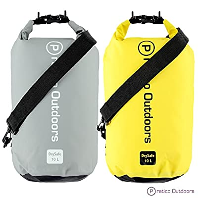 Pratico Outdoors DrySafe 10L Dry Bags - Waterproof Bag & Dry Sack Keeps Your Gear Dry & Protected