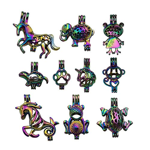 10 PCS Mixed Rainbow Color Cage Pendant for Pearl Collection - Unicorn Elephant Frog Sea Turtle Monkey Dog Dootprint Locket Perfume Essential Oil Diffuser Filigree Hollow Wish Charms -
