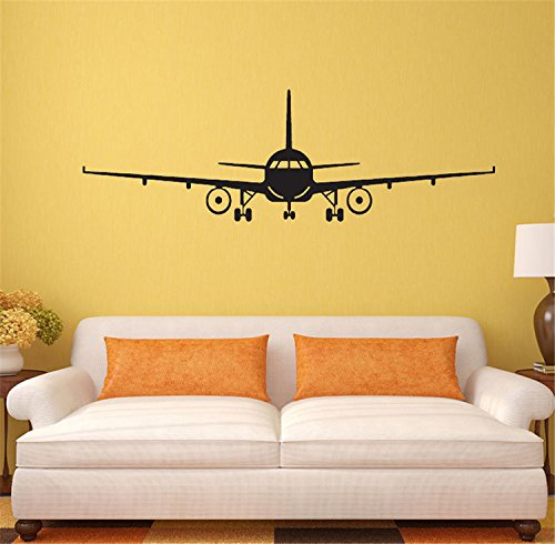 Airplane Wall (VancyTop 3D Black Airplane Pattern DIY Removable Wall Stickers for Kids' Room Nursery Playing Room Home Decoations,M)