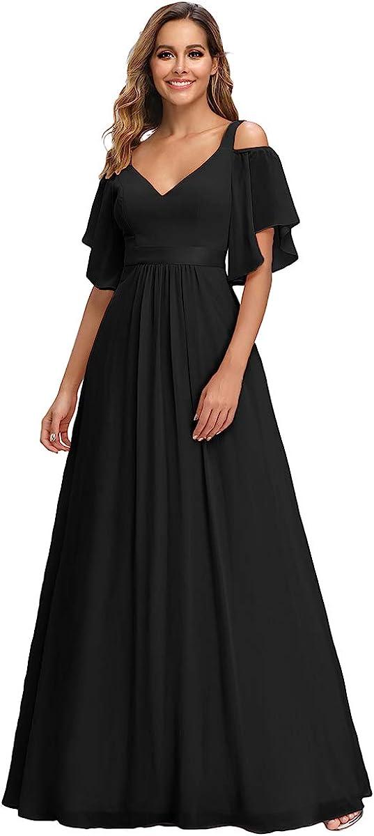 Ever-Pretty Damen Abendkleid Chiffon V-Ausschnitt A-Linie Schulterfrei mit /ärmel Hohe Taille lang 07871
